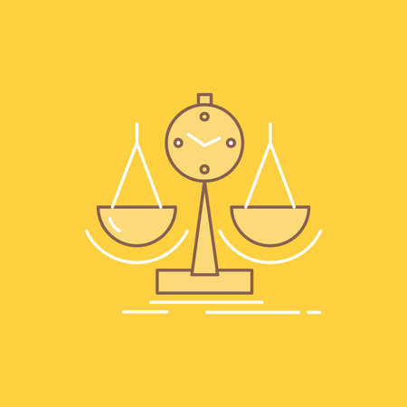 Balanced, management, measure, scorecard, strategy Flat Line Filled Icon. Beautiful Logo button over yellow background for UI and UX, website or mobile application
