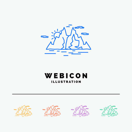 Nature, hill, landscape, mountain, water 5 Color Line Web Icon Template isolated on white. Vector illustration