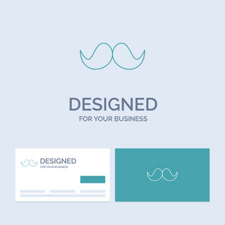 moustache, Hipster, male, men Business Logo Line Icon Symbol for your business. Turquoise Business Cards with Brand logo template Illustration