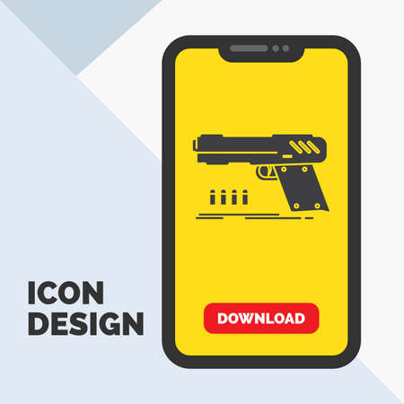 gun, handgun, pistol, shooter, weapon Glyph Icon in Mobile for Download Page. Yellow Background