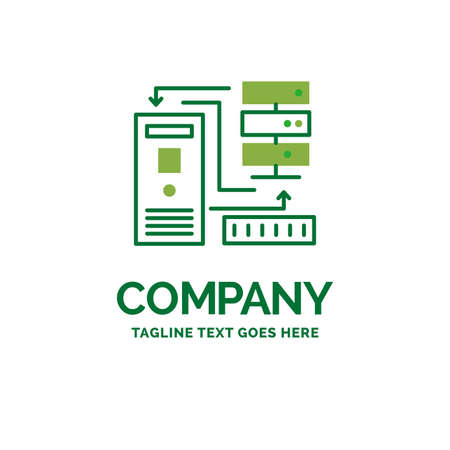 Combination, data, database, electronic, information Flat Business Logo template. Creative Green Brand Name Design.