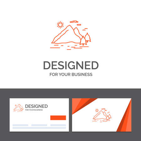 Business logo template for Nature, hill, landscape, mountain, sun. Orange Visiting Cards with Brand logo template