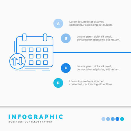 schedule, classes, timetable, appointment, event Infographics Template for Website and Presentation. Line Blue icon infographic style vector illustration
