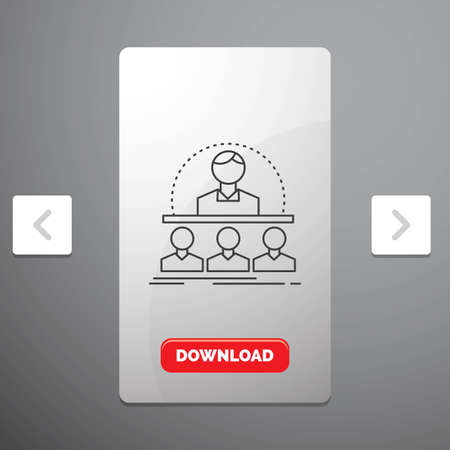 Business, coach, course, instructor, mentor Line Icon in Carousal Pagination Slider Design & Red Download Button