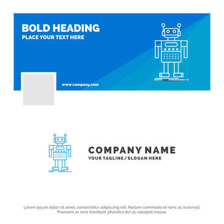 Blue Business Logo Template for robot, Android, artificial, bot, technology. Timeline Banner Design. vector web banner background illustration