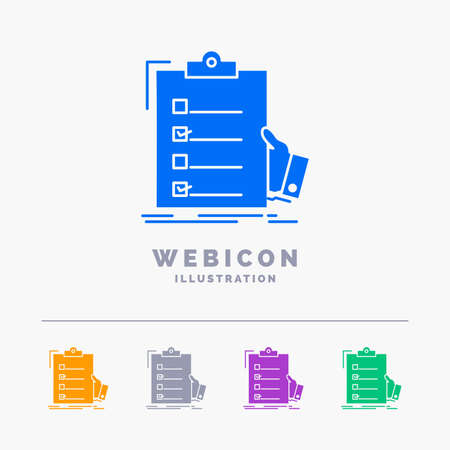 checklist, check, expertise, list, clipboard 5 Color Glyph Web Icon Template isolated on white. Vector illustration