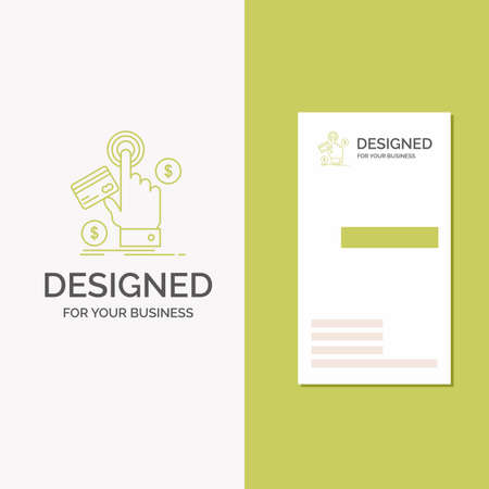 Business Logo for ppc, Click, pay, payment, web. Vertical Green Business / Visiting Card template. Creative background vector illustration