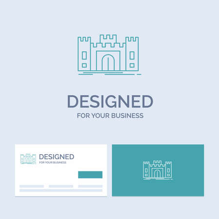 Castle, defense, fort, fortress, landmark Business Logo Line Icon Symbol for your business. Turquoise Business Cards with Brand logo template