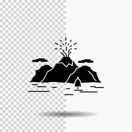 Nature, hill, landscape, mountain, blast Glyph Icon on Transparent Background. Black Icon