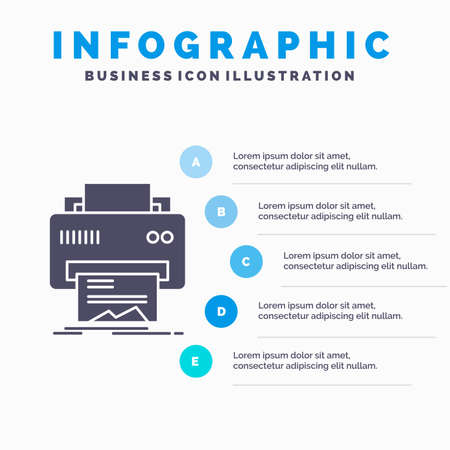 Digital, printer, printing, hardware, paper Infographics Template for Website and Presentation. GLyph Gray icon with Blue infographic style vector illustration.