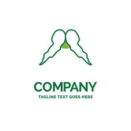 moustache, Hipster, male, men Flat Business Logo template. Creative Green Brand Name Design.