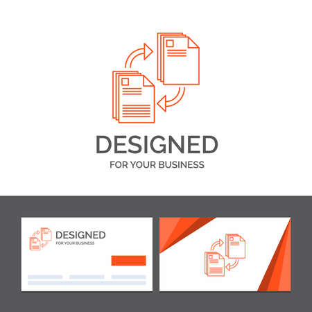 Business logo template for sharing, share, file, document, copying. Orange Visiting Cards with Brand logo template