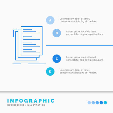 Code, coding, compile, files, list Infographics Template for Website and Presentation. Line Blue icon infographic style vector illustration