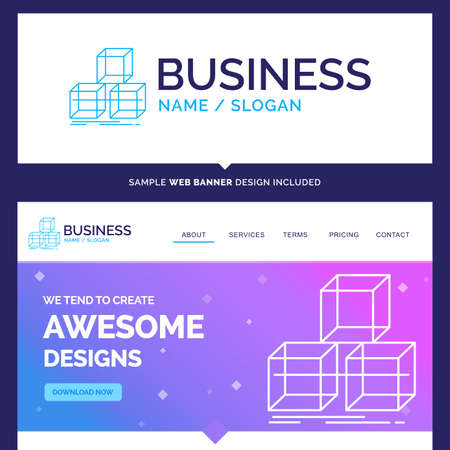 Beautiful Business Concept Brand Name Arrange, design, stack, 3d, box Logo Design and Pink and Blue background Website Header Design template. Place for Slogan / Tagline. Exclusive Website banner and Business Logo design Template Stock Illustratie