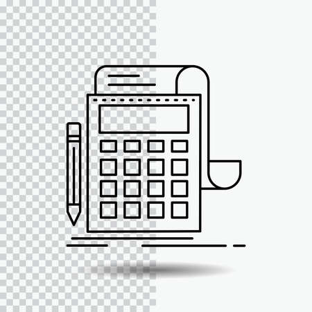 Accounting, audit, banking, calculation, calculator Line Icon on Transparent Background. Black Icon Vector Illustration