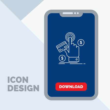 ppc, Click, pay, payment, web Line Icon in Mobile for Download Page Illusztráció