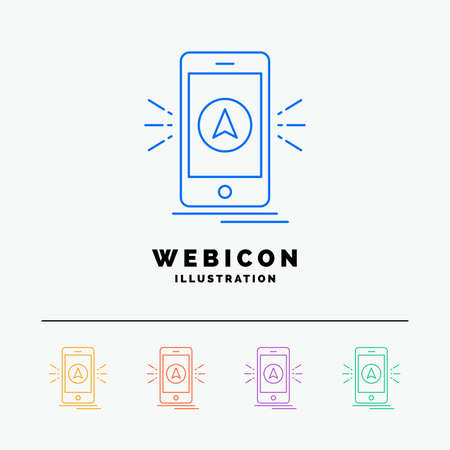 navigation, app, camping, gps, location 5 Color Line Web Icon Template isolated on white. Vector illustration