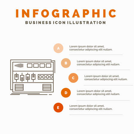 Audio, mastering, module, rackmount, sound Infographics Template for Website and Presentation. Line Gray icon with Orange infographic style vector illustration