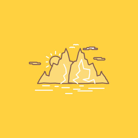 Nature, hill, landscape, mountain, water Flat Line Filled Icon. Beautiful Logo button over yellow background for UI and UX, website or mobile application