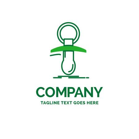 Baby, dummy, newbie, nipple, noob Flat Business Logo template. Creative Green Brand Name Design.