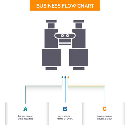 binoculars, find, search, explore, camping Business Flow Chart Design with 3 Steps. Glyph Icon For Presentation Background Template Place for text.