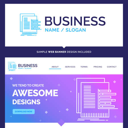 Beautiful Business Concept Brand Name chart, data, graph, reports, valuation Logo Design and Pink and Blue background Website Header Design template. Place for Slogan / Tagline. Exclusive Website banner and Business Logo design Template