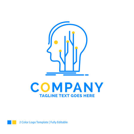 Data, head, human, knowledge, network Blue Yellow Business Logo template. Creative Design Template Place for Tagline.