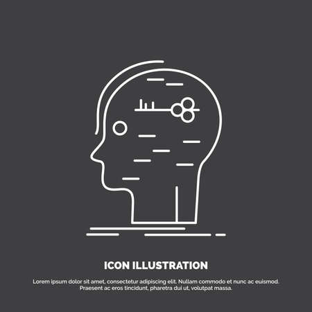 brain, hack, hacking, key, mind Icon. Line vector symbol for UI and UX, website or mobile application Иллюстрация