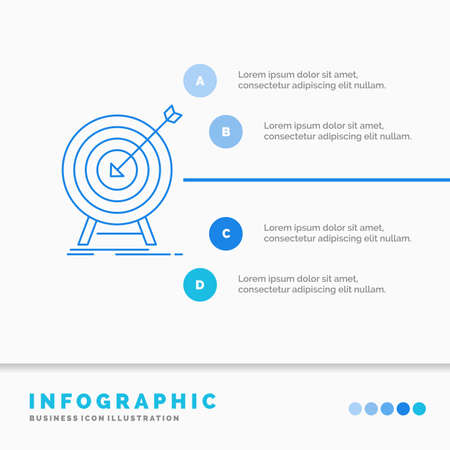 goal, hit, market, success, target Infographics Template for Website and Presentation. Line Blue icon infographic style vector illustration