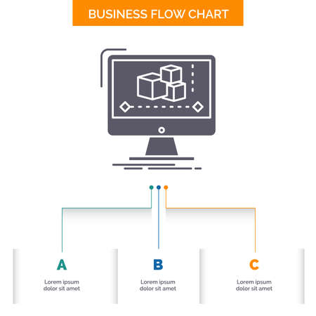 Animation, computer, editor, monitor, software Business Flow Chart Design with 3 Steps. Glyph Icon For Presentation Background Template Place for text.