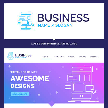 Beautiful Business Concept Brand Name drag, mobile, design, ui, ux Logo Design and Pink and Blue background Website Header Design template. Place for Slogan / Tagline. Exclusive Website banner and Business Logo design Template