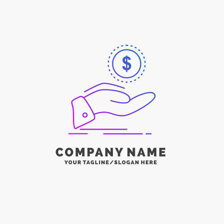 help, cash out, debt, finance, loan Purple Business Logo Template. Place for Tagline Logo