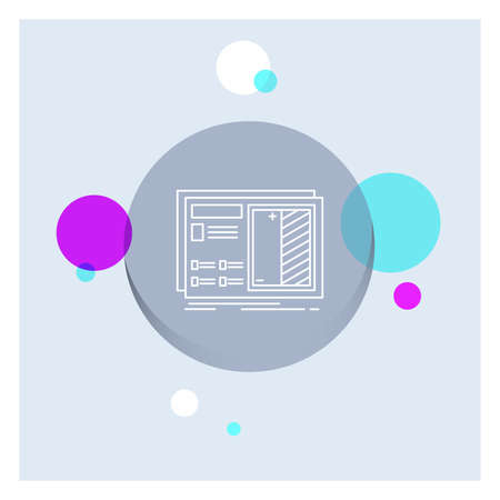 Blueprint, design, drawing, plan, prototype White Line Icon colorful Circle Background