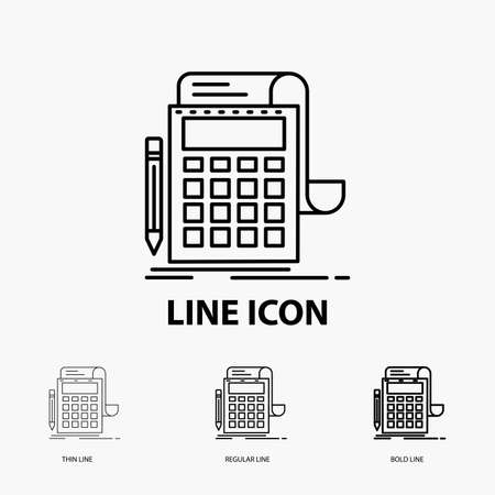 Accounting, audit, banking, calculation, calculator Icon in Thin, Regular and Bold Line Style. Vector illustration Ilustração Vetorial