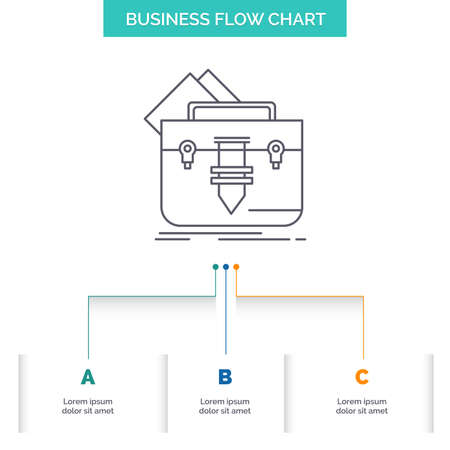 portfolio, Bag, file, folder, briefcase Business Flow Chart Design with 3 Steps. Line Icon For Presentation Background Template Place for text
