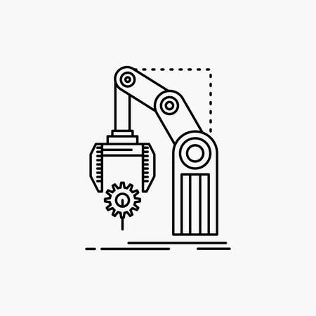 Automation, factory, hand, mechanism, package Line Icon. Vector isolated illustration