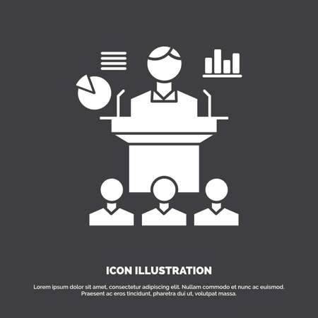 Business, conference, convention, presentation, seminar Icon. glyph vector symbol for UI and UX, website or mobile application