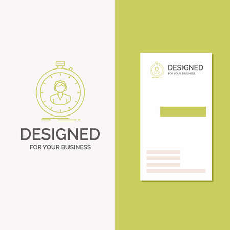 Business Logo for fast, speed, stopwatch, timer, girl. Vertical Green Business / Visiting Card template. Creative background vector illustration
