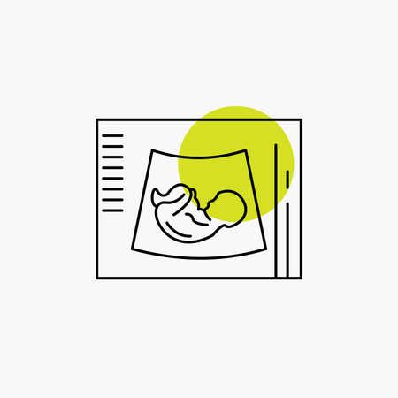 Maternity, pregnancy, sonogram, baby, ultrasound Line Icon