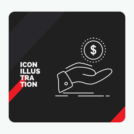 Red and Black Creative presentation Background for help, cash out, debt, finance, loan Line Icon