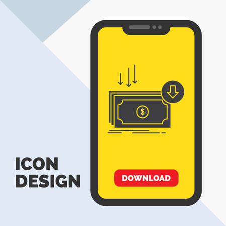 Business, cost, cut, expense, finance, money Glyph Icon in Mobile for Download Page. Yellow Background