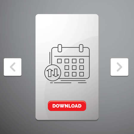 schedule, classes, timetable, appointment, event Line Icon in Carousal Pagination Slider Design & Red Download Button