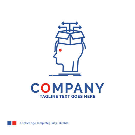 Company Name Logo Design For Data, extraction, head, knowledge, sharing. Blue and red Brand Name Design with place for Tagline. Abstract Creative Logo template for Small and Large Business.