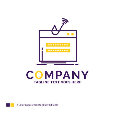 Company Name Logo Design For fraud, internet, login, password, theft. Purple and yellow Brand Name Design with place for Tagline. Creative Logo template for Small and Large Business.