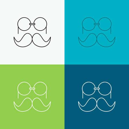 moustache, Hipster, glasses, men Icon Over Various Background. Line style design, designed for web and app. vector illustration