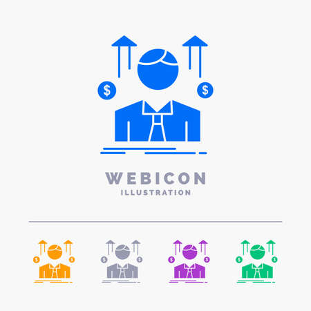 Business, man, avatar, employee, sales man 5 Color Glyph Web Icon Template isolated on white. Vector illustration Stock Illustratie
