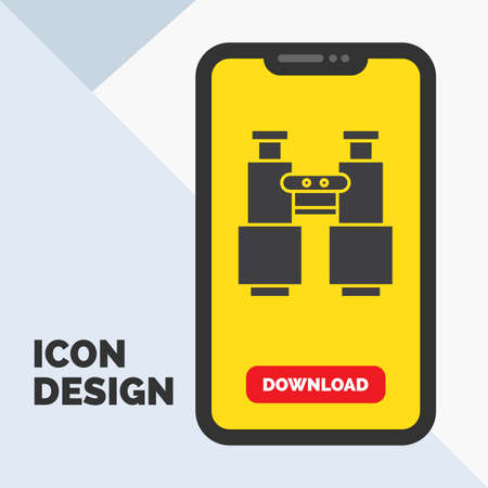 binoculars, find, search, explore, camping Glyph Icon in Mobile for Download Page. Yellow Background