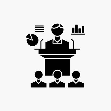 Business, conference, convention, presentation, seminar Glyph Icon. Vector isolated illustration Vektorgrafik