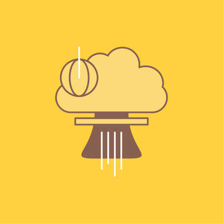 Bomb, explosion, nuclear, special, war Flat Line Filled Icon. Beautiful Logo button over yellow background for UI and UX, website or mobile application Illusztráció