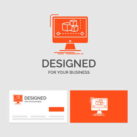 Business logo template for Animation, computer, editor, monitor, software. Orange Visiting Cards with Brand logo template.